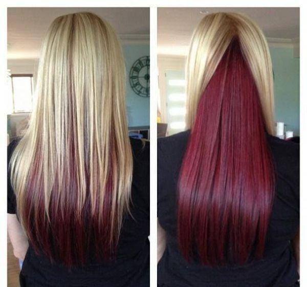 Choppy Blonde Hair With Burgundy Underneath The Bangs Fashion