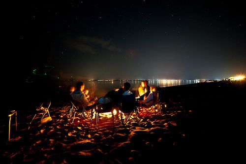 No Words Beach At Night Camping Places Beach Fire