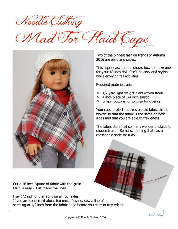 Free Doll Clothes Pattern. Tutorial to make the Noodle Clothing Mad For Plaid Ca... #bedfalls62 Free Doll Clothes Pattern. Tutorial to make the Noodle Clothing Mad For Plaid Ca... #clothes #Clothing #doll #Free #Mad #Noodle #Pattern #bedfalls62