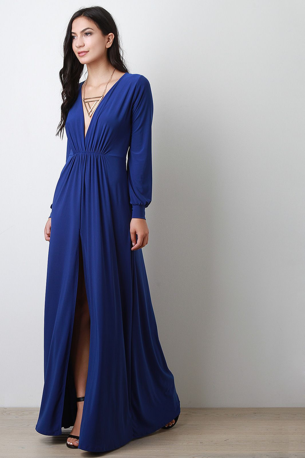 Vent slit long sleeve maxi dress approved pinterest long