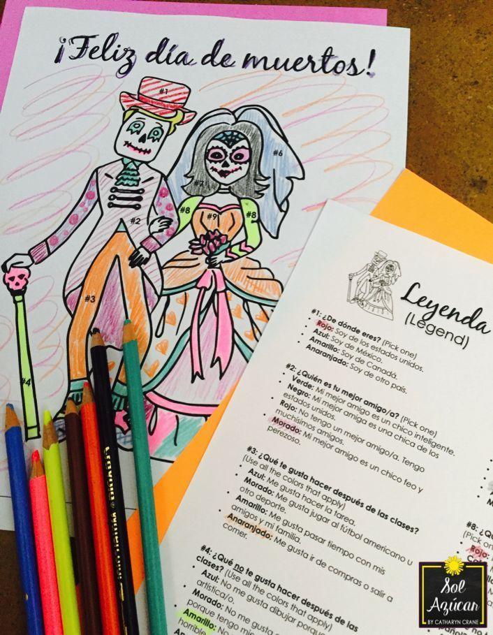Día de los Muertos Glyph - Read and Color - Beginning / Novice Level | High  school spanish, Day of the dead, Spanish