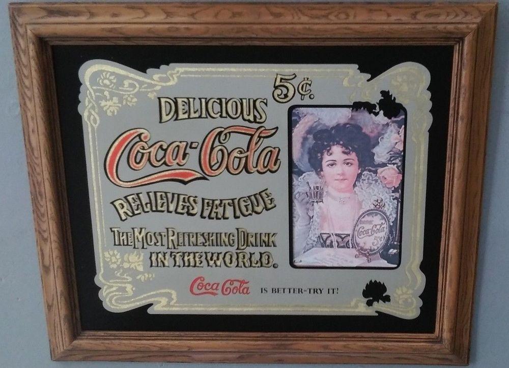 3e14cc8b7bf Coca Cola Delicious Bar Mirror Sign Advertising 5 Cents Relieves Fatigue   CocaCola
