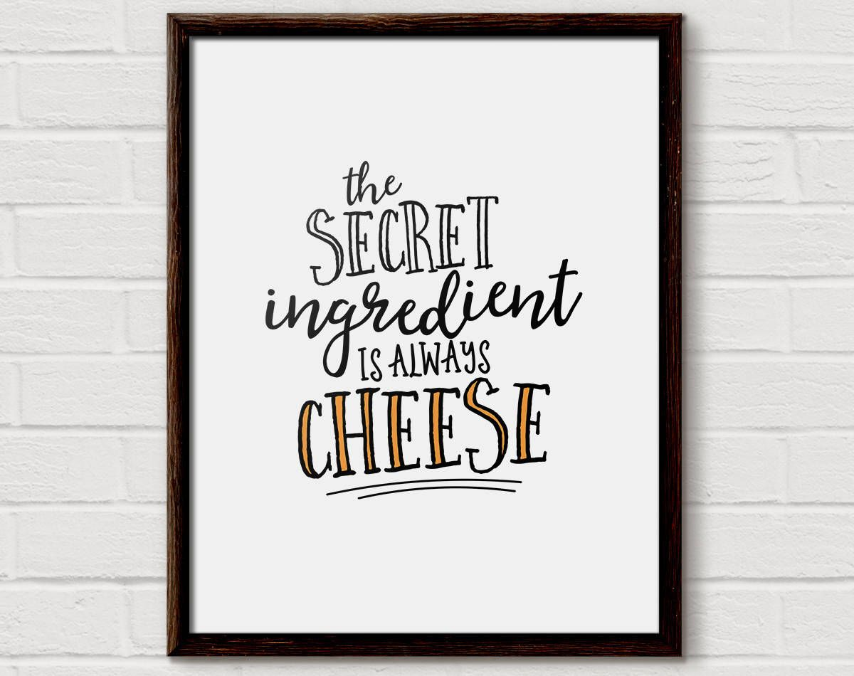 Cheese print cheese lover gift food quote kitchen art