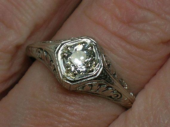 Antique Engagement Ring Old Mine Cut Diamond Platinum