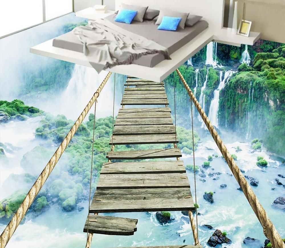 3d Floor Painting Wallpaper 3d Landscape Waterfall Adventure Rope Wooden Floor 3d Pvc Wallpaper 3d Flooring Floor Wallpaper Floor Murals 3d Floor Painting