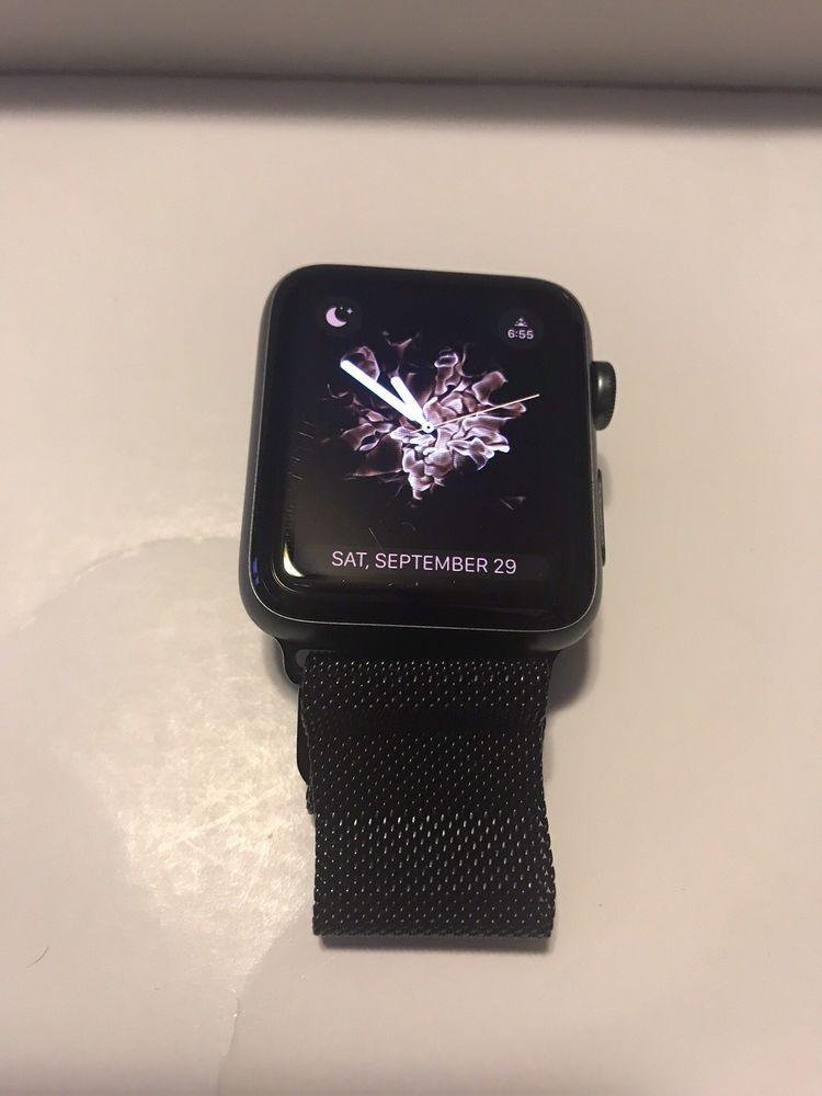 a21e1d9a5732 apple watch series 2 42mm space gray aluminum Sport Band Black/ Milanese  Loop | eBay