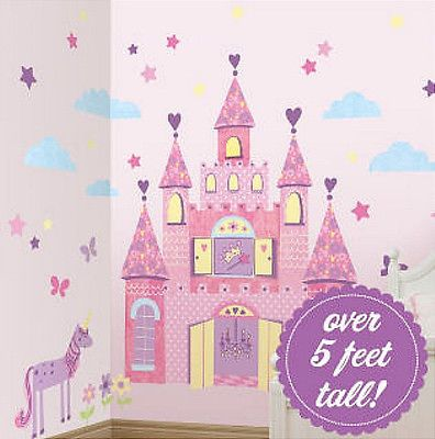 Princess Castle Huge Wall Stickers Unicorn Decal Clouds Stars 83