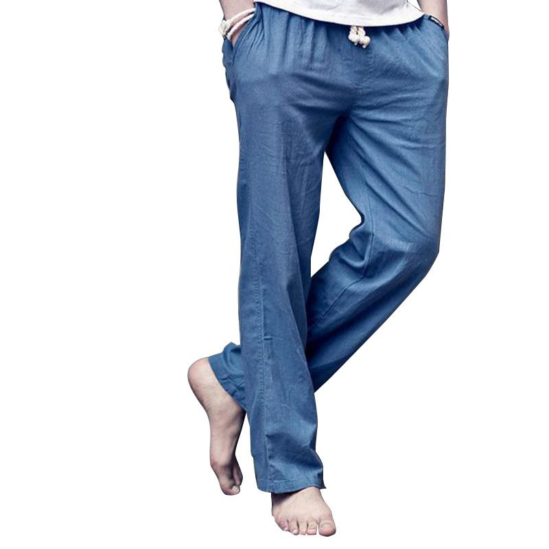 4208e1b7d043 Plus size M-4XL Men s Summer Casual Pants Natural Cotton Linen Trousers  blue Linen Elastic Waist Straight Pants