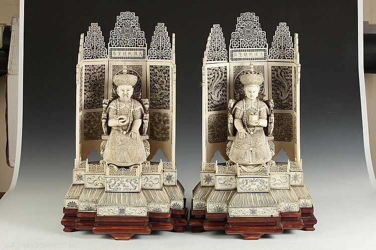 LARGE CHINESE IVORY FIGURE OF EMPEROR AND EMPERESS, Qianlong mark. Each seated on a dragon throne with reticulated screen with dragon and brocade - 22 in. high.  Notes: Provenance: Private collection of David G. Tarlow, acquired in the 1960s.