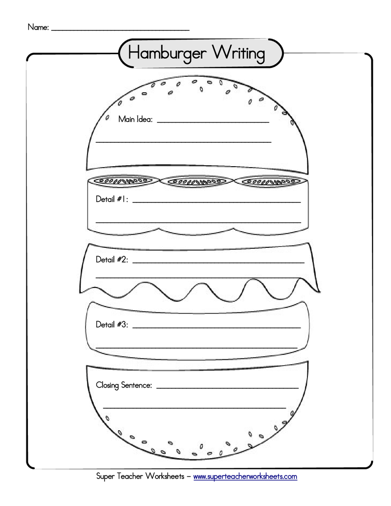 burger writing template - hamburger paragraph organizer school pinterest
