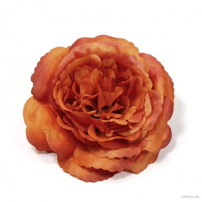 """Ansteckrose, Haarrose in orange, Modell """"Englische Rose"""""""