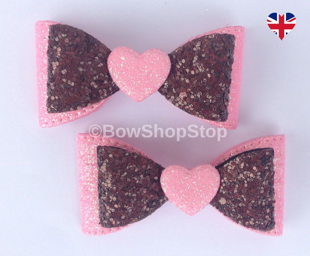 "Hearts  glitter chunky bows girls 4/"" hair clip alligator Handmade Pink pair"