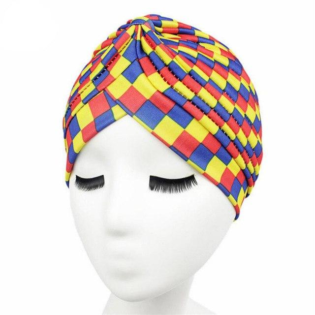 a9f9ae8b0c2 CUHAKCI New Fashion Dot Rasta Turban Hats Indian Unisex High Quality Women sStyle  Head Cap Hat Hair Cover Various Print Design