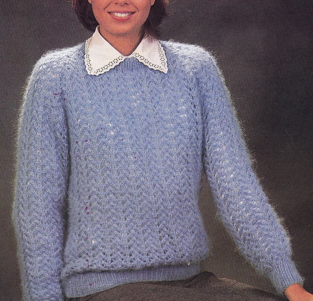 Vintage Knitting Pattern Instructions Ladies Lace Jumper In Plus