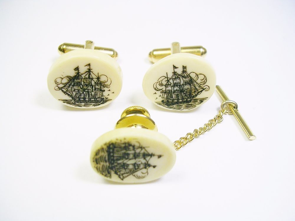 VINTAGE CUFFLINKS TIE TACK SET SCRIMSHAW CUFF LINKS SAILING SHIP FORMAL WEAR #Unbranded