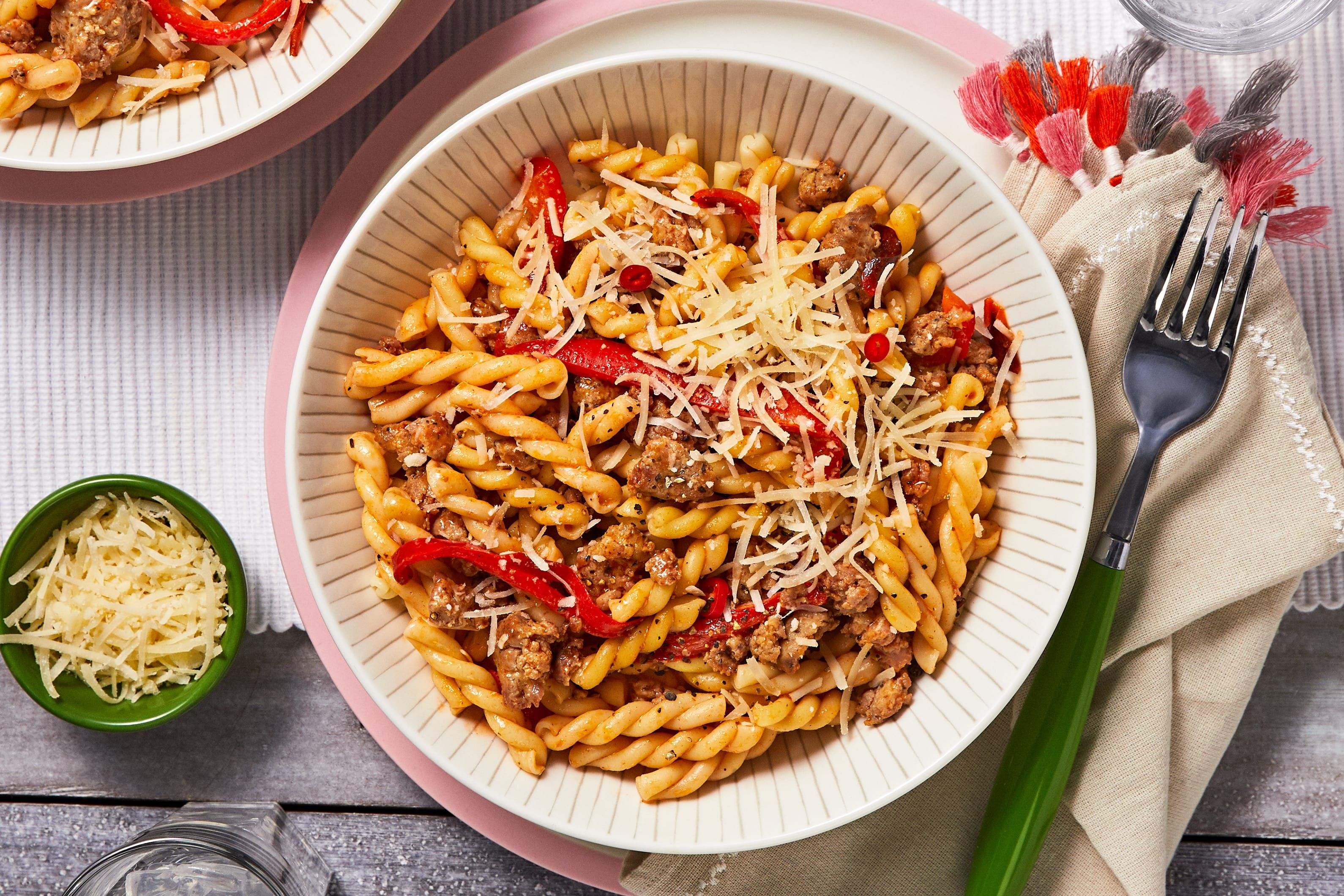 Sausage And Pepper Pasta Recipe Hellofresh Recipe Pepper Pasta Recipe Stuffed Peppers Pasta Recipes