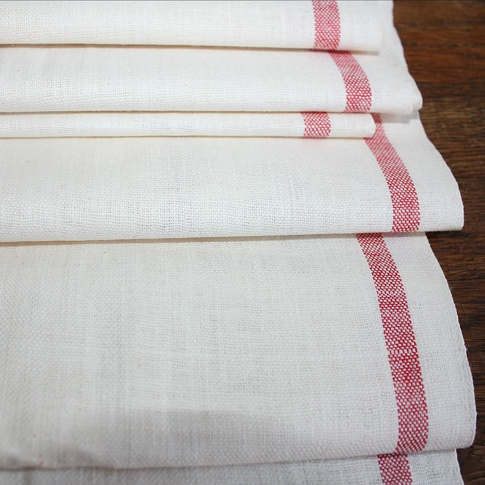 Vintage French Linen Fabric Bolt With Red Stripe French Linens