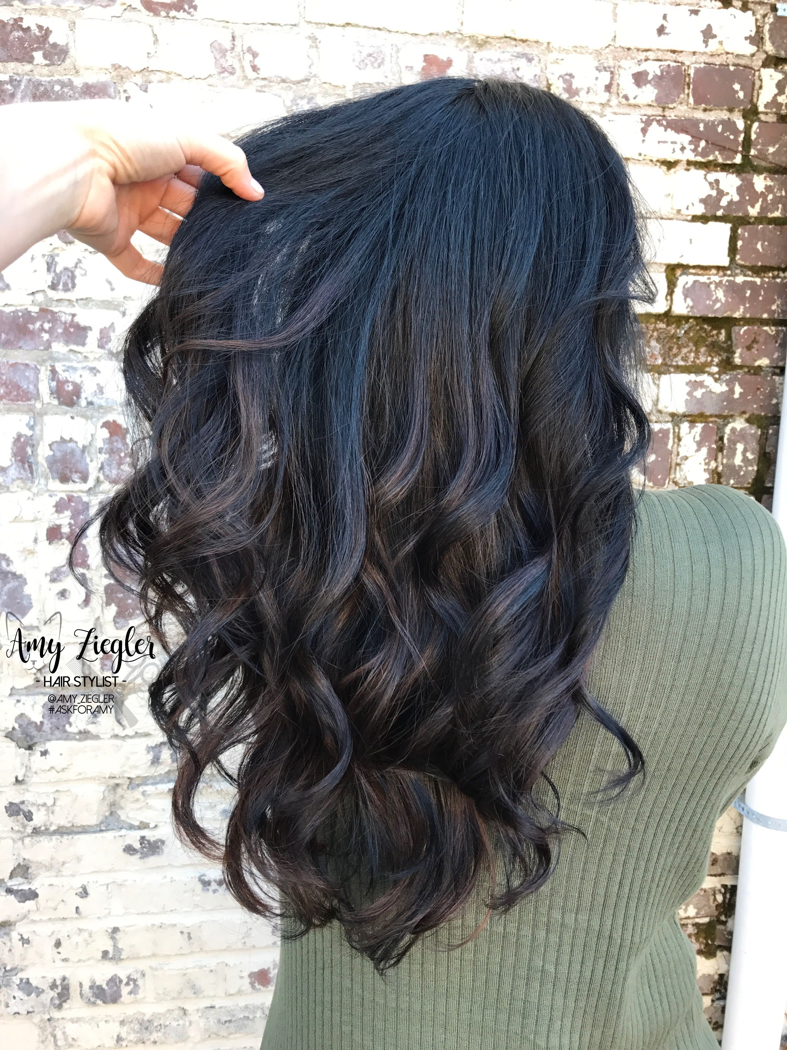 Hair blue tips on black hair