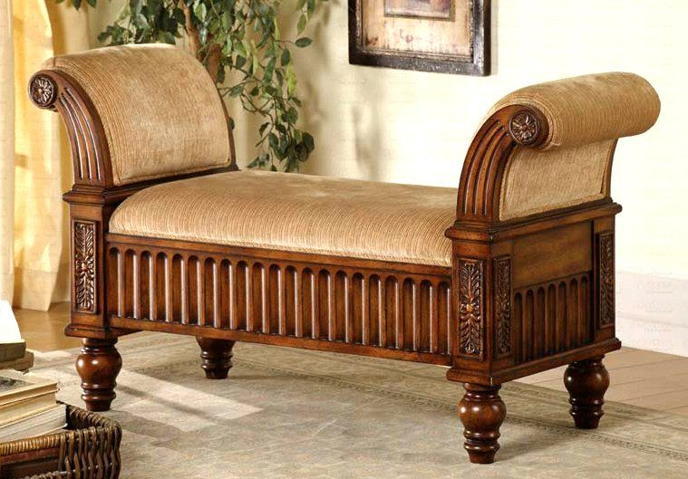 Traditional Upholstered Bench W Rolled Arms Living Room Bench Furniture Living Room Sets Furniture #wooden #benches #for #living #room