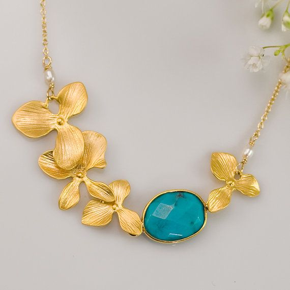 Turquoise Necklace  December Birthstone Necklace   by delezhen, $59.00