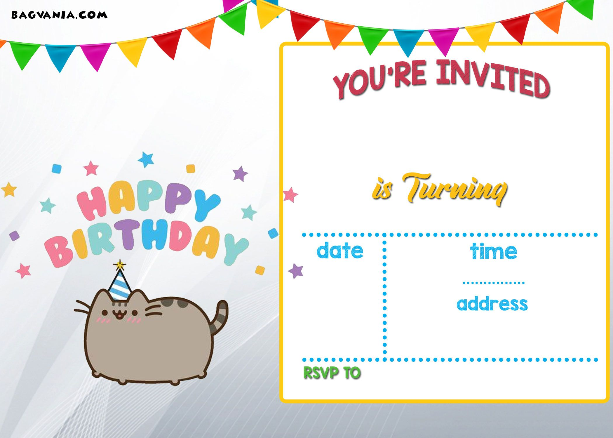 Download FREE Printable Pusheen Birthday Invitation Template - Birthday invitations templates free printable