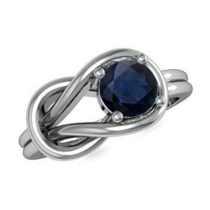 Angara Lovers Knot Solitaire Blue Sapphire Ring in Platinum RO2teVFG