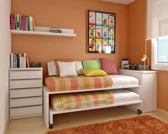 Cuarto infantil naranja con cama nido recamara en 2019 - Habitacion infantil cama nido ...