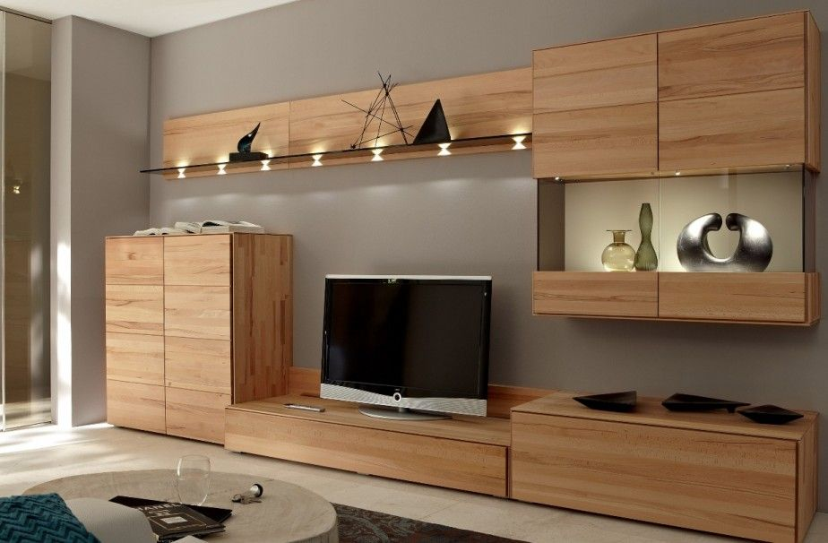 Modern Wooden Tv Stand Unit Come With Wooden Wall Shelves With
