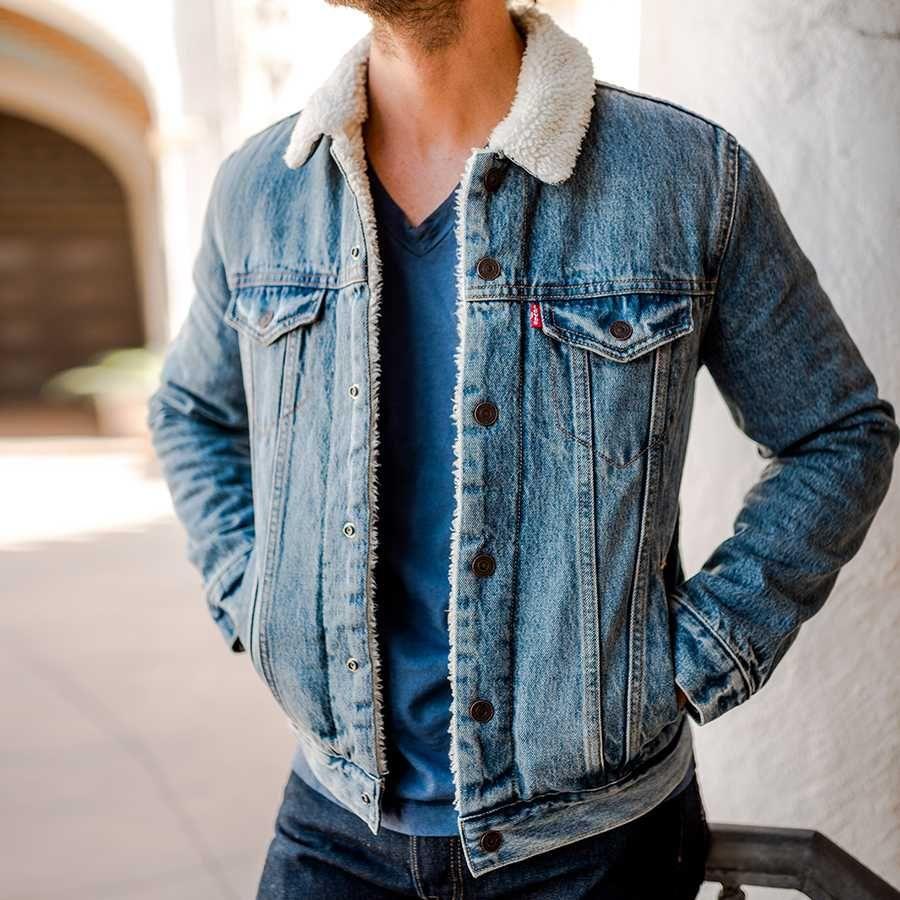 Oversized Fleece Fur Lined Denim Jacket With Fur Denim Jacket Denim Jacket With Fur Lined Denim Jacket [ jpg ]
