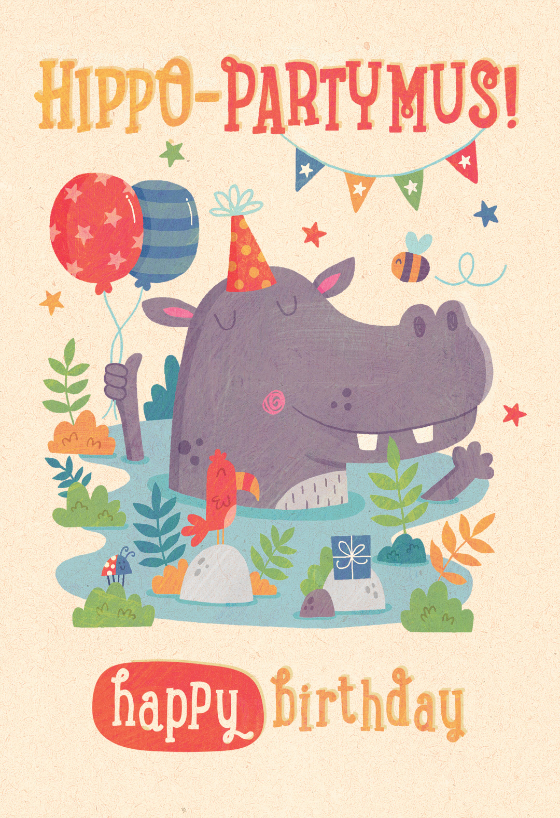 Hippo Party Mus Birthday Card Free Greetings Island Birthday Card Printable Vintage Birthday Cards Happy Birthday Cards