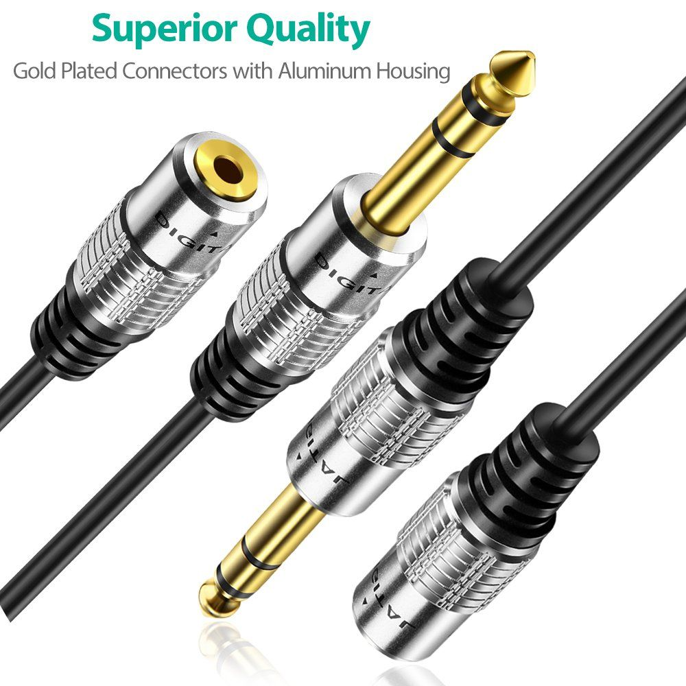6 35mm 1 4 Inch Stereo Plug Male To 3 5mm 1 8 Inch Stereo Jack Female Socket Headphone Extension Cable 1 Feet Check This Aw Extension Cable Audio Ideas Plugs