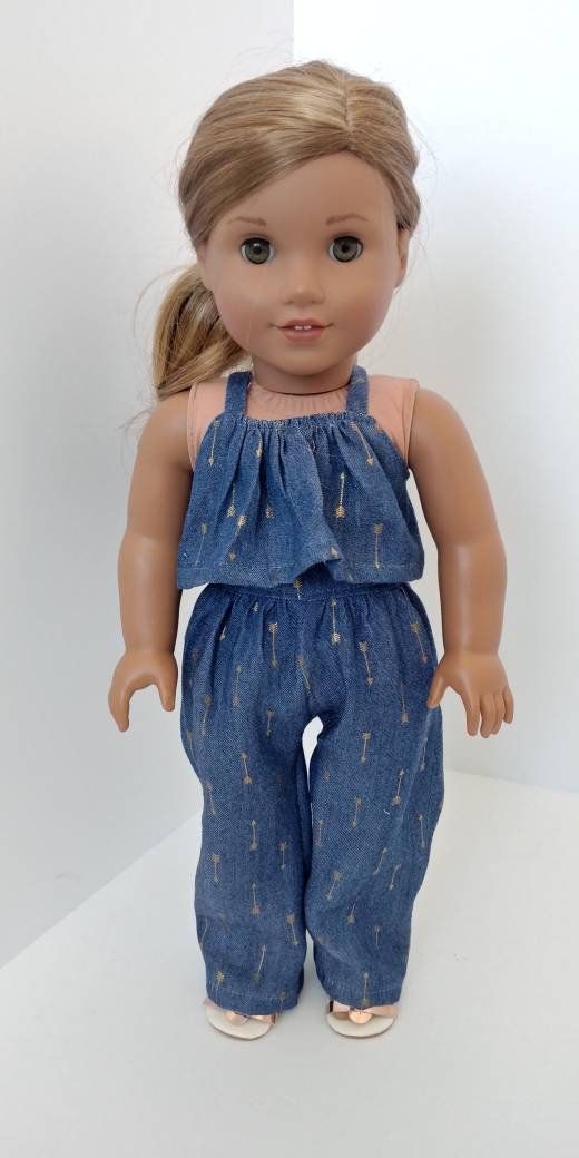 18 inch doll clothes. Fits like American girl doll clothes. 18 inch doll clothing. Denim print jumper #girldollclothes