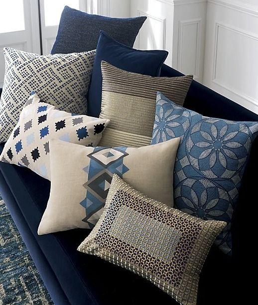 Brenner Blue Velvet Pillow Crate And Barrel Pillows Velvet Pillows Blue Pillows