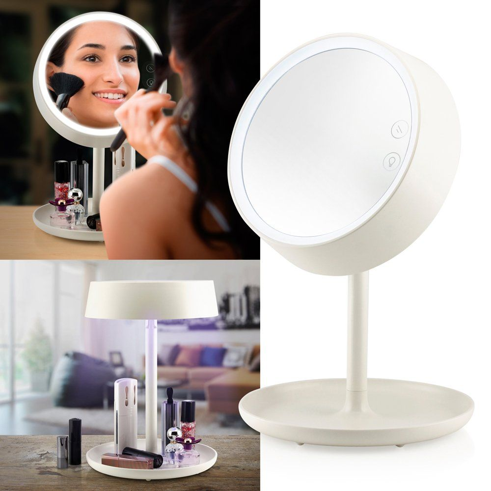 Oct17 makeup mirror lighted lamp led vanity travel portable cordless oct17 makeup mirror lighted lamp led vanity travel portable cordless rechargeable battery powered round natural light touch screen desk with under organizer aloadofball Images
