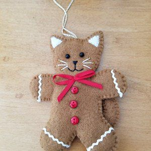 Felt cat ornament with red star, hanging cat decoration, ready to ship