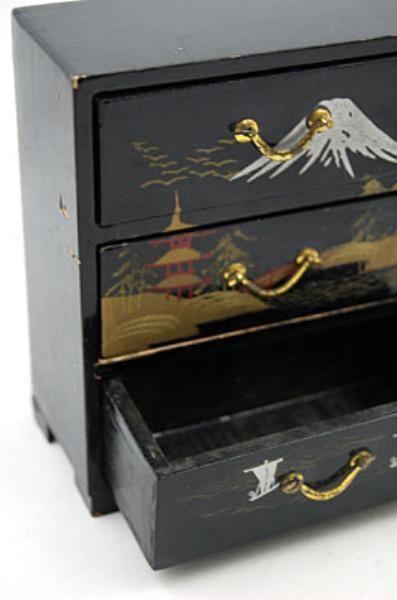 Black Wooden Japanese Jewelry Box Japanese jewelry and Box