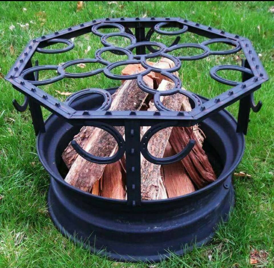 horse shoes a tire rim some t posts u003d fire pit saved from a