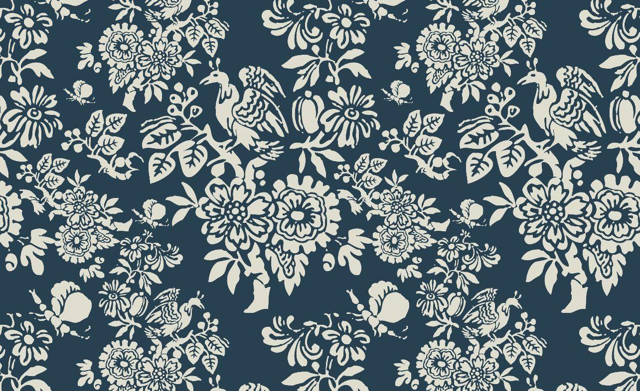 Peranakan Prussian Blue textiles and wallpaper print