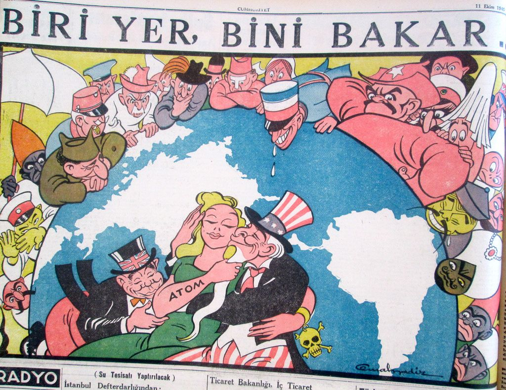 World War Two in Cemal Nadir Cartoons Radyo, Nadir