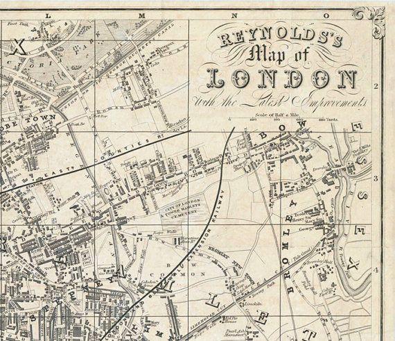 Old Map of London 1851 | Maps | Old maps of london, Map, London map