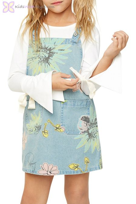 139a637c7fb Floral Denim Pinafore Dress. Get a young girl ready for casual occasions  with this cute and fun dress. It s perfect for school and laidback  activities ...