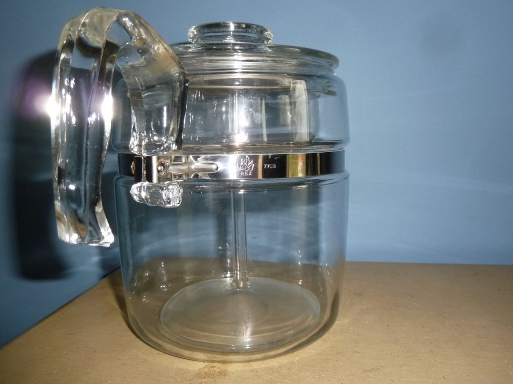 Vintage Pyrex Glass Coffee Maker Percolator Pot 9 Cup 7759 Complete All Parts Pyrex Parcolator Coffee Vintage Pyrex Glass Percolator Coffee Pot Pyrex Vintage