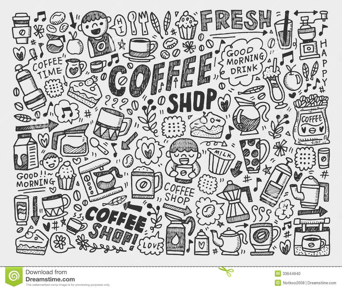 doodle-coffee-element-background-cartoon-illustration ...
