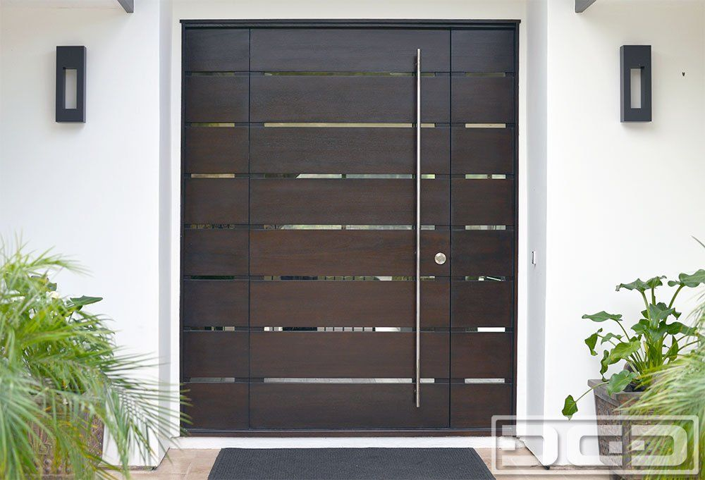 Orange County Ca Modern Entry Doors In Solid Mahogany Wood Custom Contemporary Front Door Design With Stainless Steel Tubular Handle