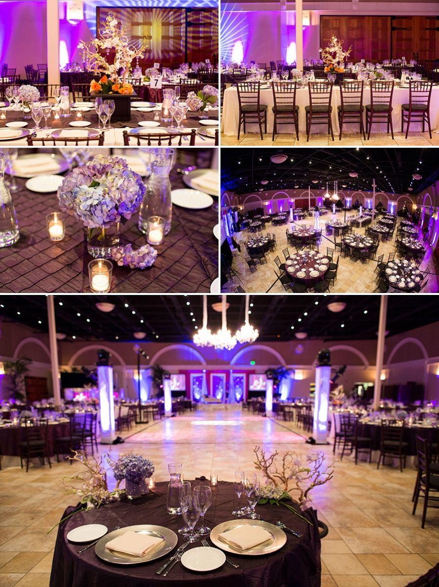 Purple Themed Decor At Indian Reception Courtesy Wedding