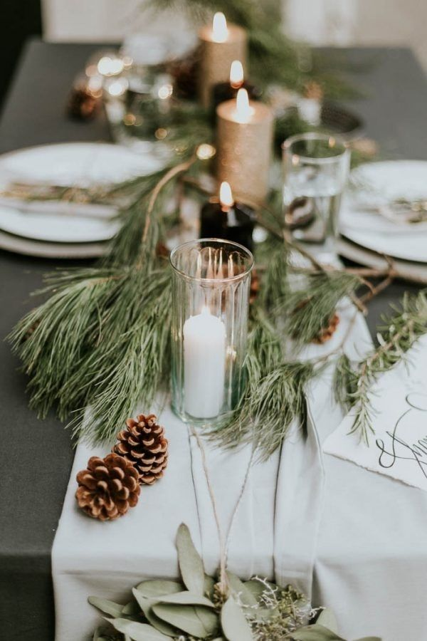Winter Table Runner Inspiration With Pine Cones Pine Needles And Candles Winter Wedding Centerpieces Winter Bridal Showers Wedding Themes Winter