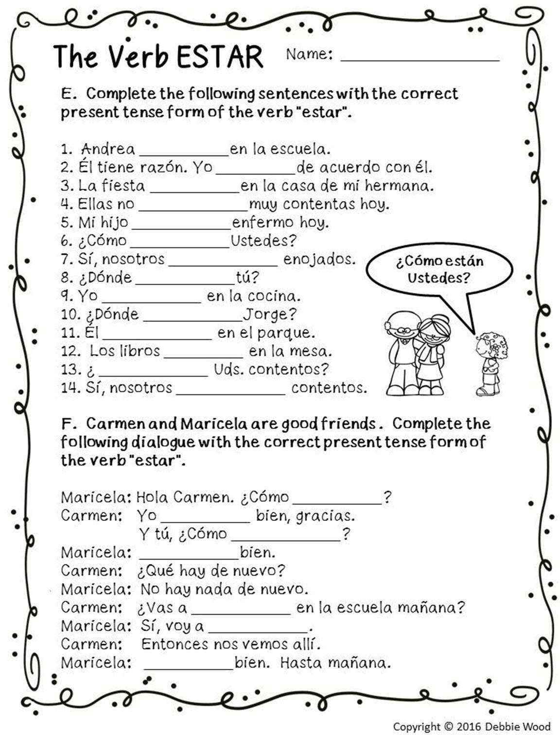 Spanish Verb Conjugation Worksheets Printable Spanish