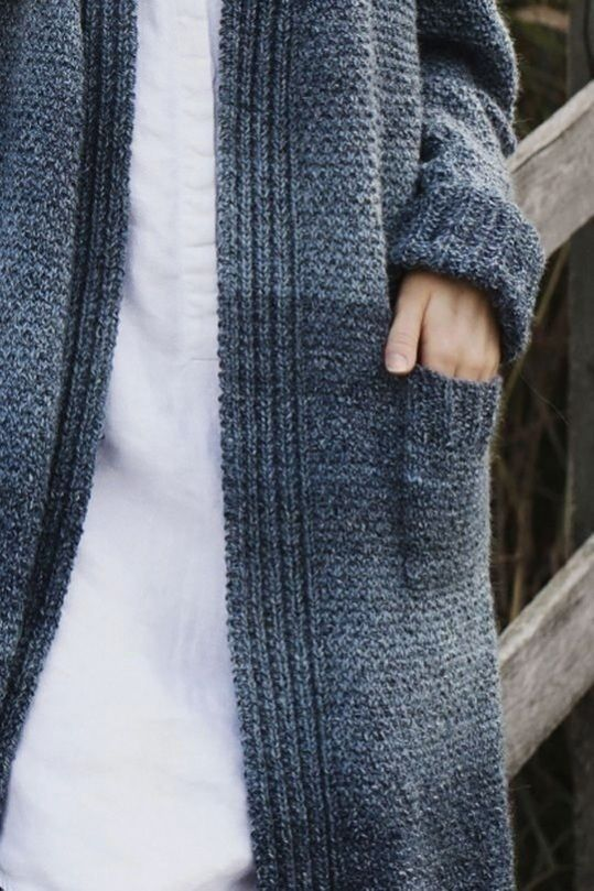 Free knitting pattern. This long ladies cardigan with ...