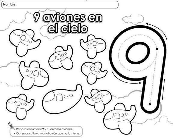 Trabajando En Educacion Infantil 10 Fichas Del Numero 9 Fichas Aprendiendo A Contar Aprendizaje De Los Numeros