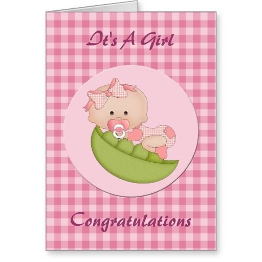 Congratulation New Baby Girl In A Pod Pink Card Congratulations